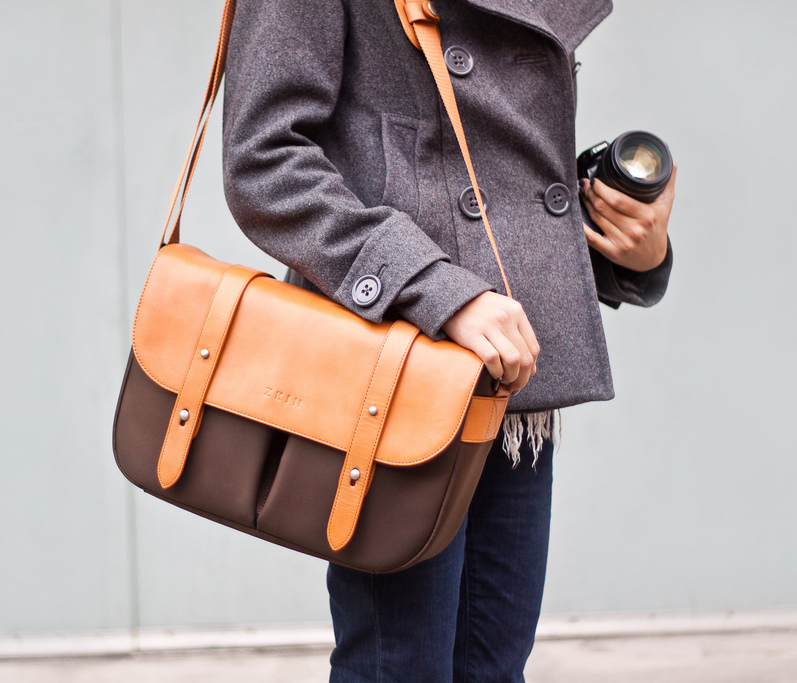 Classic Leather Camera Satchel