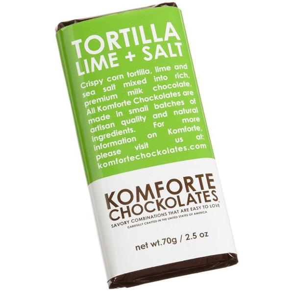 Komforte Chockolates Tortilla Lime and Salt Milk Chocolate Bar