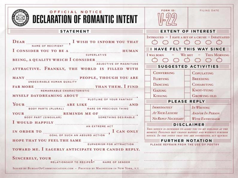 The Bureau of Communication - Declaration of Romantic Intent