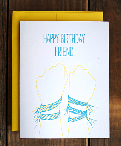 Greenwich Letterpress friendship bracelet birthday card