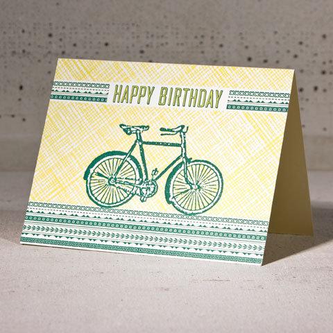 Hammerpress bicycle happy birthday card