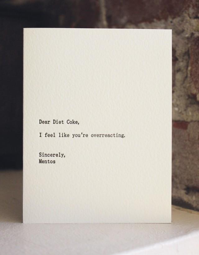 Dear Diet Coke by Sapling Press