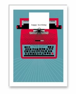 Rock Scissors Paper typewriter birthday card