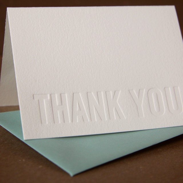 Ruby Press Modern Block thank you card