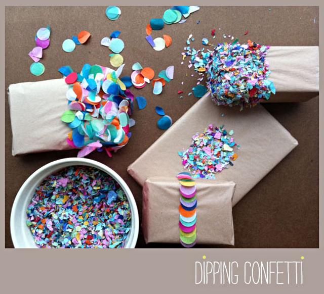 Dipped Confetti Gift Wrap / Image Credit: Joke Vande Gaer of Tokketok
