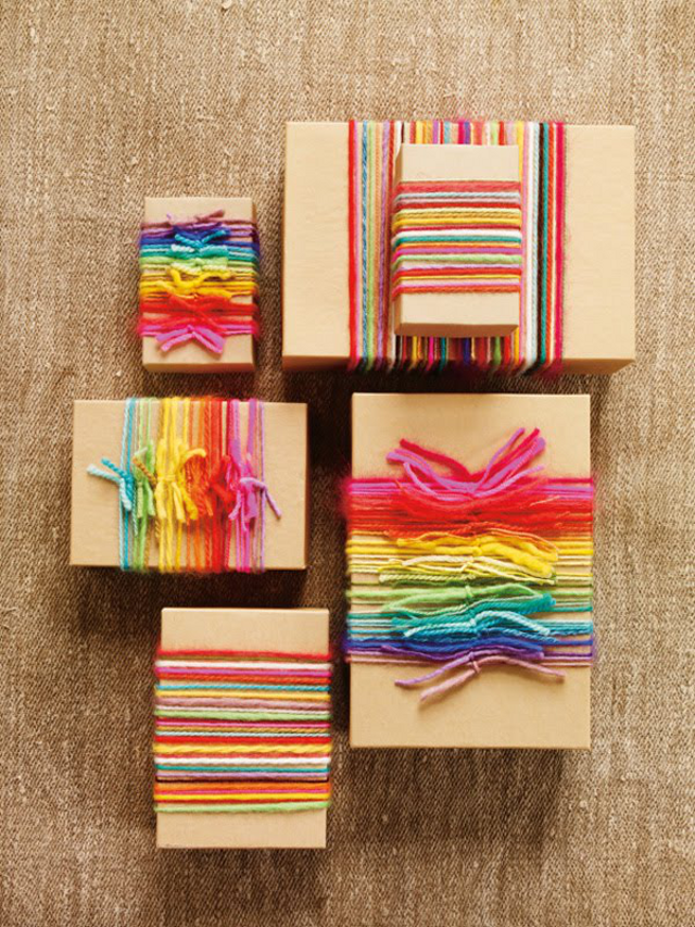 Rainbow Yarn Gift Wrapping / Image: Anna Williams