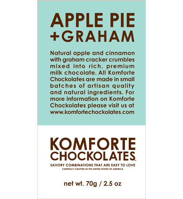 Apple Pie + Graham Chocolate Bar by Komforte Chockolates