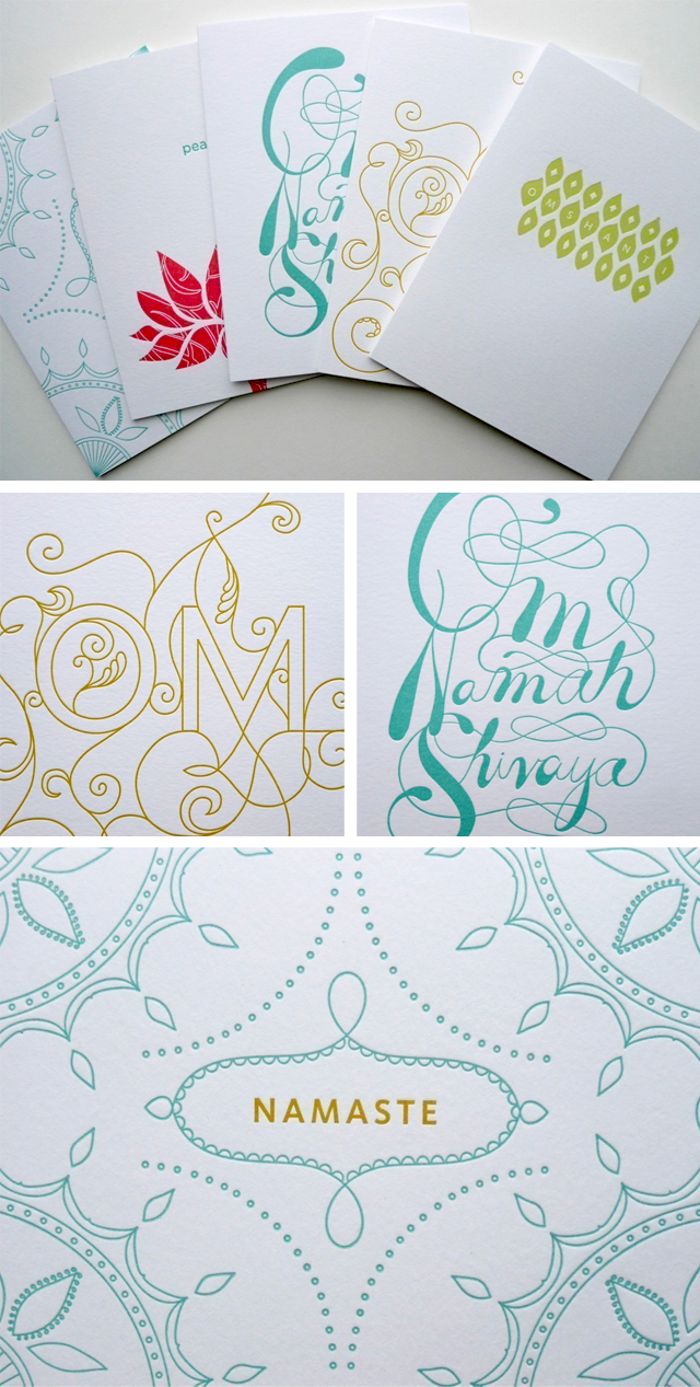 Set of 5 Letterpress Yoga Cards by Fine Day Press