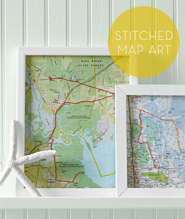 Stitched Map Art / Image: Martha Stewart Living