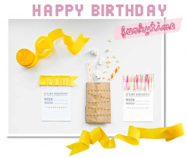 Printable Birthday Invites and Goodie Bags from Funkytime