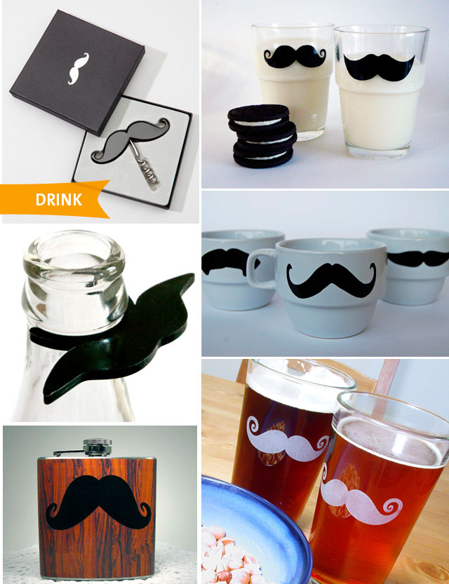 Movember mustache drinking accessories