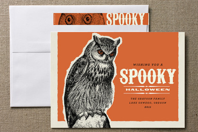 owl Halloween personalized card