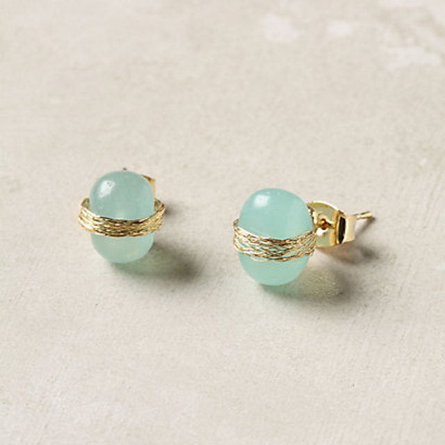 aqua gold post earrings