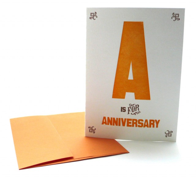 A is for Anniversary – Alphabet Greeting Card by Heartfish Press