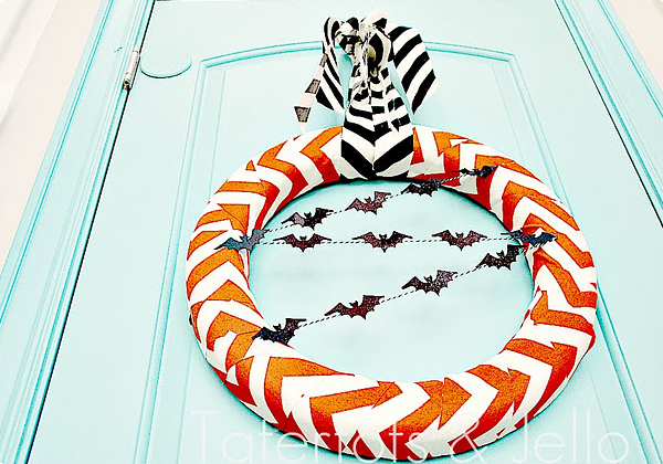 Chevron Halloween Wreath made with baker's twine by Tatertots and Jello