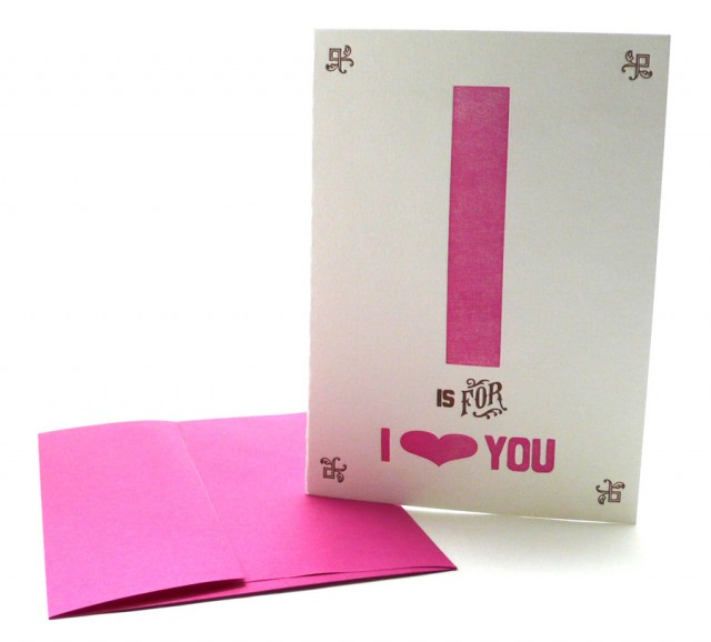 I is for I Love You – Alphabet Greeting Card by Heartfish Press