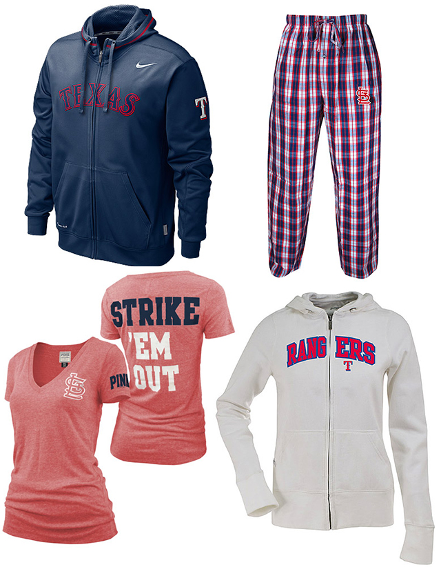 Men's and Women's Cardinals and Rangers gear from the MLB Shop