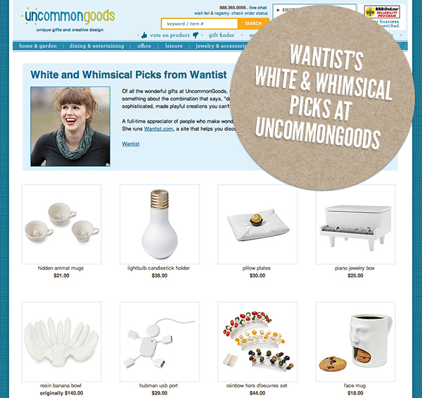 White and Whimsical Picks from Wantist : UncommonGoods