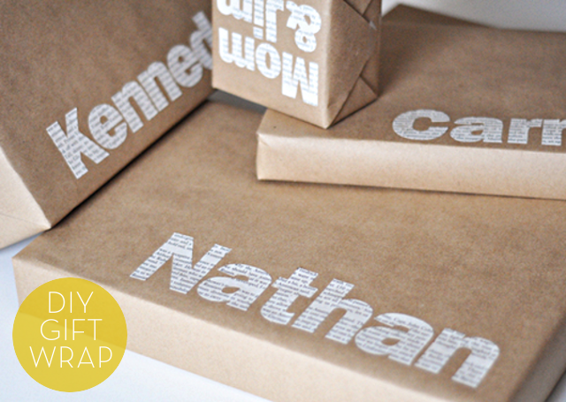 DIY Typographic Gift Wrap / Image: Chris Gardner