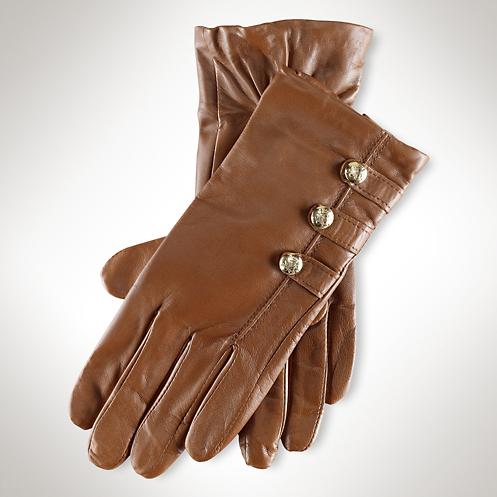 Ralph Lauren Leather Military Button Gloves