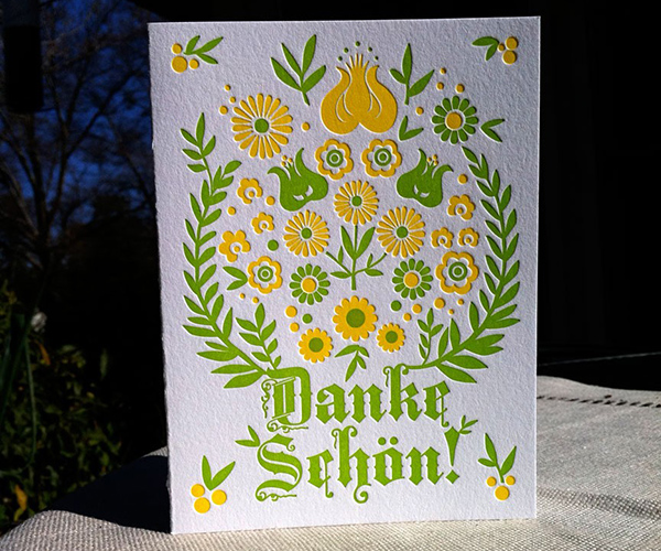 Letterpress German Thank You Card by Concrete Lace