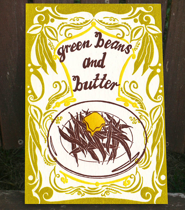 Green Beans and Butter Letterpress Print by Old School Stationers