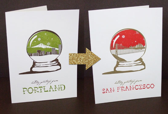Smudge Ink Cities and States Holiday Cards