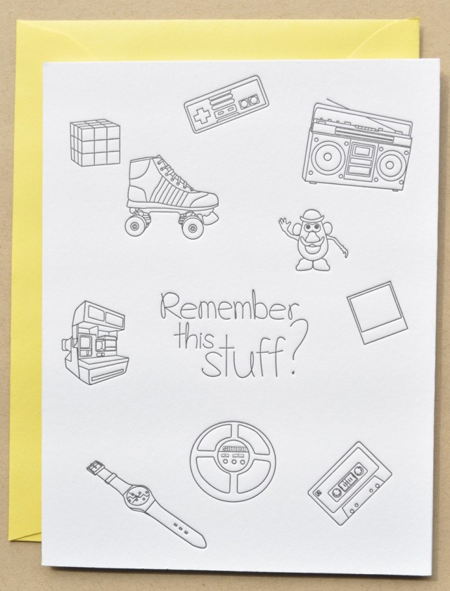 1980s Memories Letterpress Birthday card by Impressed Design