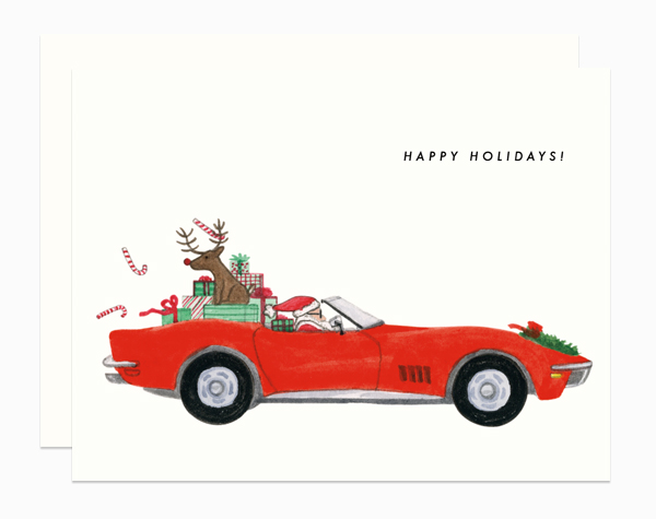 Santa Corvette card by Dear Hancock
