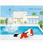 Warmest Holiday Wishes Santa Swimming card by Dear Hancock