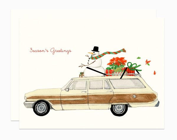 Snowman on a Station Wagon card by Dear Hancock