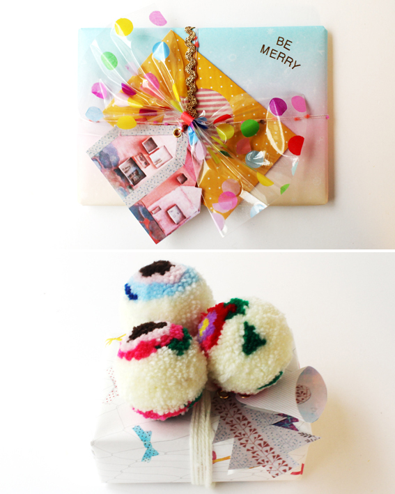 Confetti Bow Ribbon and Pom Pom Topper by Hello Sandwich
