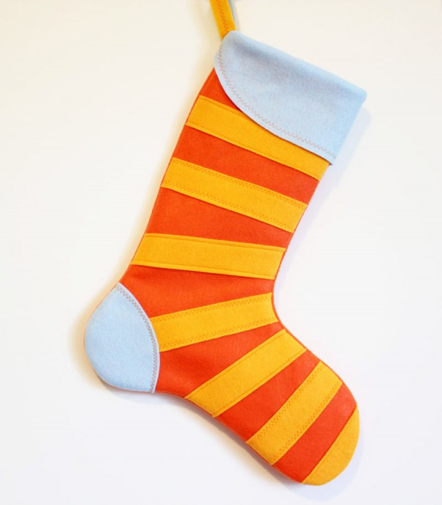 Orange Mod Stripe Stocking by MissMosh