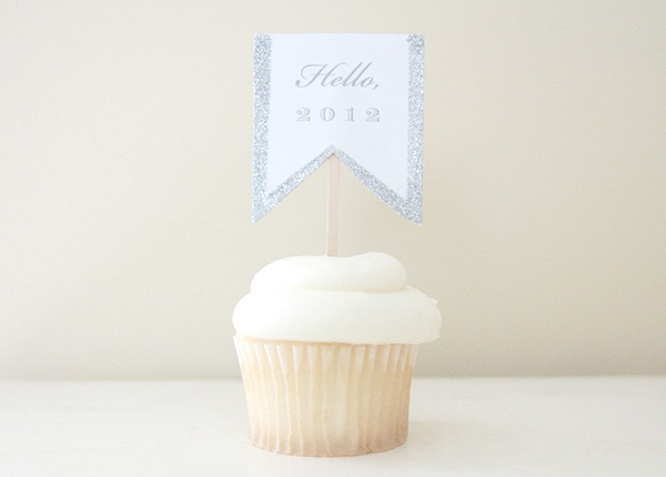 New Year's Glittered Cupcake Topper by Potter and Butler