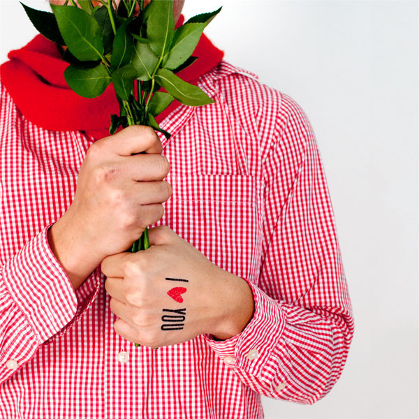 Tattly I Heart You Tattoo with Roses