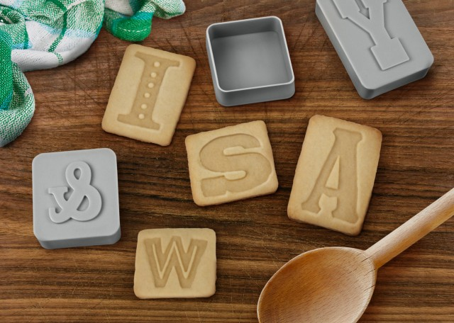 Letterpressed Cookie Cutters on a counter