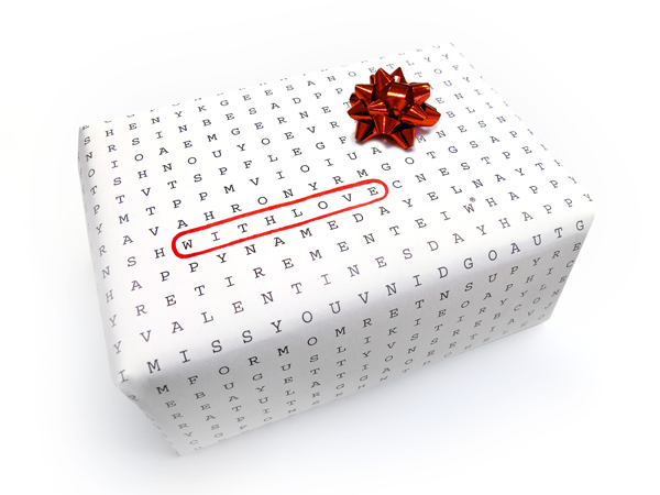 Wordless Universal Word Search Wrapping Paper - With Love