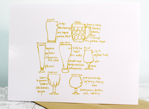 Beer Glassware Diagram Card by Girls Can Tell
