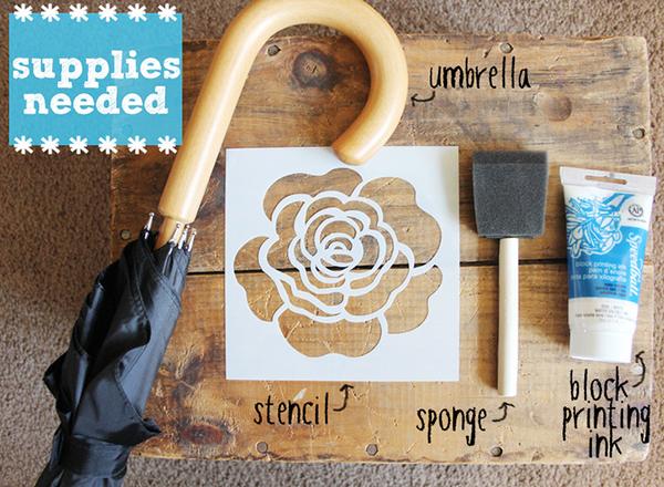 Stenciled Umbrella DIY by Two Happy Hearts supplies