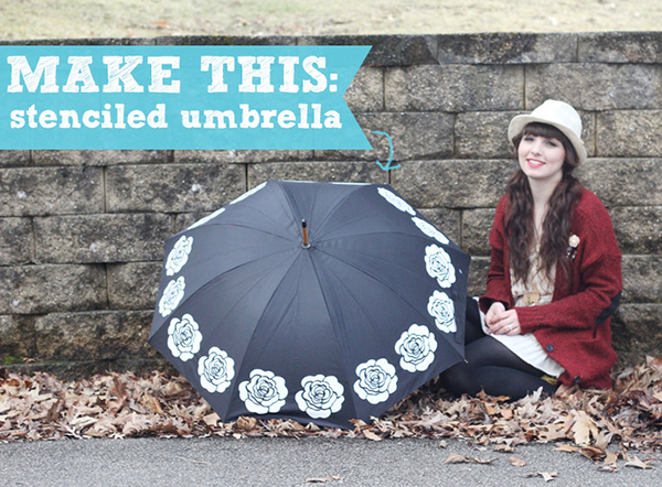 Stenciled Umbrella DIY by Two Happy Hearts