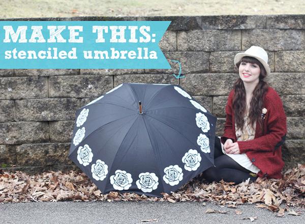 Stenciled Umbrella DIY by Two Happy Hearts