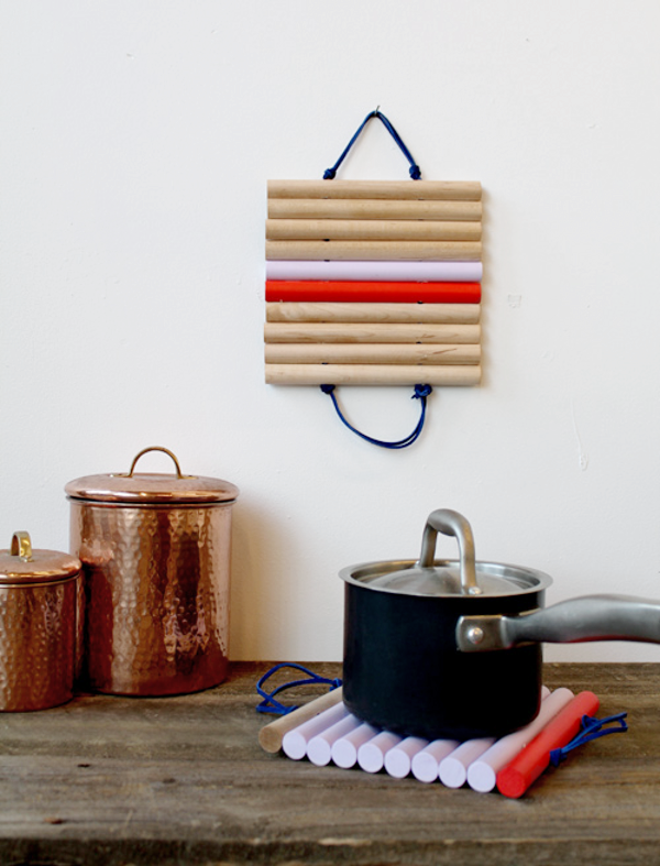 DIY Leather and Wood Trivets
