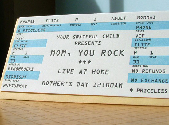 Mom Rock Ticket Card by a.favorite