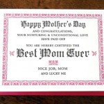 Best Mom Ever Certificate by a.favorite