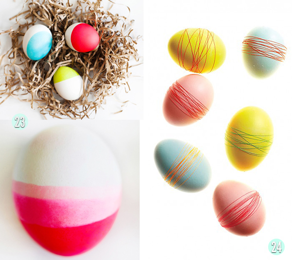 Neon Dipped Eggs and Thread wrapped eggs