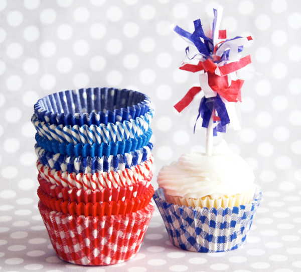 Red White and Blue Cupcake Liners from Shop Sweet Lulu's Yankee Doodle Dandy Collection