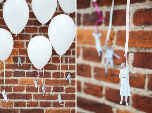 DIY: Flying wedding couple balloons on Brooklyn Bride