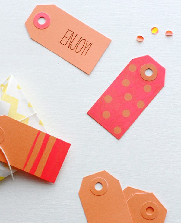 DIY: Neon Color Block and Polka Dot Gift Tags