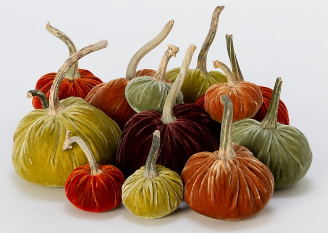 Velvet-Wrapped Pumpkins from Terrain