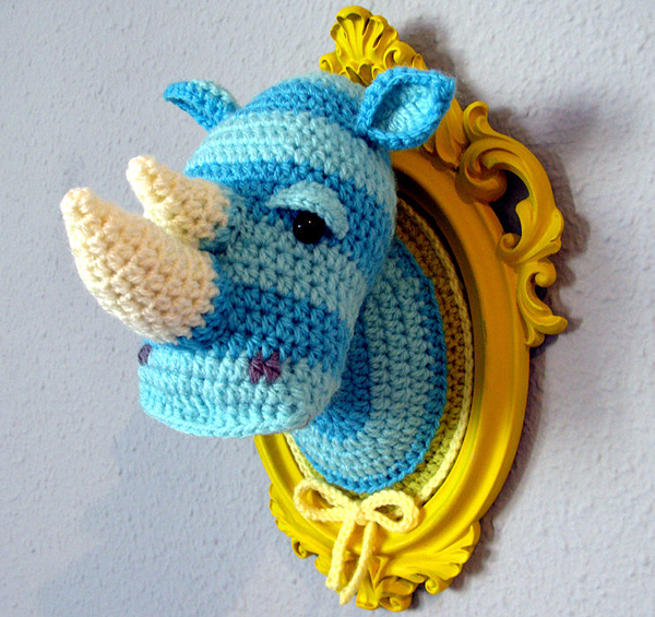 Crocheted Rhino Head by Manafka Mina